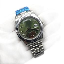 Reloj número de acero online-Reloj para hombre de lujo superior Día-Fecha Cristal de zafiro 18 quilates Oro rosa Número Roma Acero inoxidable Relojes para hombre Reloj mecánico automático para hombre.