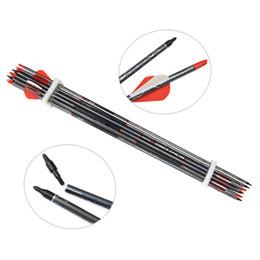 24 pezzi di frecce in carbonio tiro con l'arco bersaglio 2 pollici in gomma piume in carbonio frecce con punti di campo punte sostituibili per arco ricurvo da