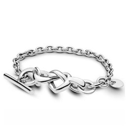 fascino pandora fascino braccialetto Sconti Pandora originale in argento sterling 925 con cuore annodato a forma di cuore impreziosito a forma di t-fibbia braccialetto braccialetto adatto perline gioielli fascino