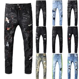 Vogeljeans online-High Quality Jeans Men's Black Bird Embroidered Painted Ripped Jeans Holes Patchwork Stretch Denim Pants Skinny Pencil Trousers