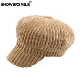 cappello giallo newsboy Sconti berretto da baseball di strillone di velluto a coste all'ingrosso per le donne Cappellino di pittore giallo a strisce cappello di edera Femminile Cappuccio di berretto da baseball per bambini autunno inverno