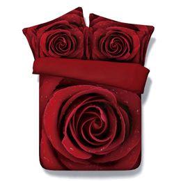Conjuntos de ropa de cama de rosa roja 3D Funda nórdica romántica colchas Ropa de cama niños gemelos para niñas Fundas de colchas amor boda sin edredón desde fabricantes
