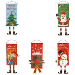 Décorations de vitrines en Ligne-Décoration de noël drapeaux Creative Hang Drapeau Santa Bonhomme De Neige Tissu Fenêtre Mur Pendentif De Noël Décorations De Noël pour Home Store LJJK1856