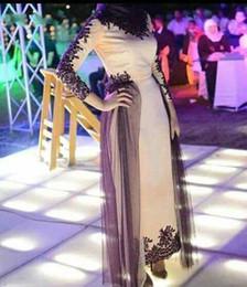 le signore partono camicie maniche Sconti Dubai Abito Medio-Oriente Arabo Donna Abiti da sera Lunghezza caviglia maniche lunghe Abiti da festa Donna Nero Appliques Abiti formali