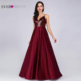 Недорогие вечерние платья онлайн-Пром платья Атлас 2019 Ever Pretty Sexy V-образным вырезом с блестками спинки красные длинные вечерние платья дешевые выпускного вечера элегантный T2190606