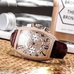 Импортировать алмазы онлайн-Мужская коллекция 8880 CC на мужские часы импортный Кварцевый хронограф Luxury Diamond iced out часы дизайнерские часы кожаные наручные часы