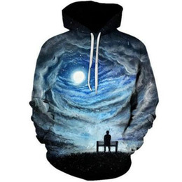 star galaxy s Promo Codes - Sondirane Space Galaxy 3D Sweatshirts Men Women Hoodies with Hat Print Stars Nebula Autumn Winter Loose Hooded Hoody Tops 4XL