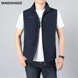 GAOHONGMEI Mens Multi Pocket Reporters Photography Vest Zipper Waistcoat Sleeveless Retro Jacket Casual Denim Gilets-blue-10XL