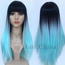 Novos penteados para cabelos longos on-line-Top cabelo China New Elegante Lolita Longo BOB Cabelo Em Linha Reta Completa Peruca Sintética Perucas Com Franja Afro Americano Preto perucas em estoque