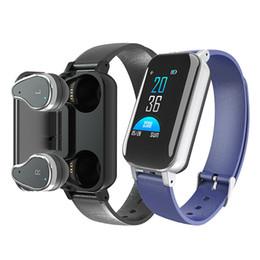 headset anschauen Rabatt T89 TWS Binaural Bluetooth 5.0 Kopfhörer Drahtlose Ohrhörer Kopfhörer Fitness Smart Armband Armband Pulsmesser Sportuhr