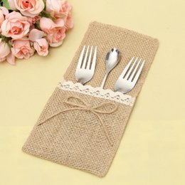 porte-couverts vintage Promotion Naturel Toile De Jute Argenterie Serviette Serviette Couverts pour Vintage Mariage Décor Bridal Shower Party Table QW9806