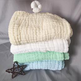 2020 cobertor de swaddle simples Cobertor do bebê O Seis Nível de Algodão Puro Lavar Rugas Gaze Swaddled Cachecol Cor Lisa Toalha De Banho Recém-nascidos Venda Quente 16my p1 cobertor de swaddle simples barato
