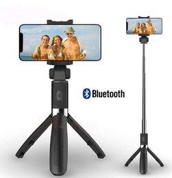 3 in 1 Wireless Selfie Stick bluetooth per iPhone 8 X 7 6s Plus pieghevole monopiede portatile con otturatore remoto estensibile Mini treppiede da
