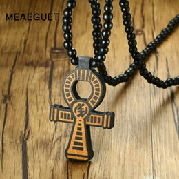 carved horn pendant Promo Codes - ankh pendant Meaeguet Carving Ancient Egypt Ankh Pendant Necklace For Men Amulet With 8mm Wood Beads Chain Length -90CM