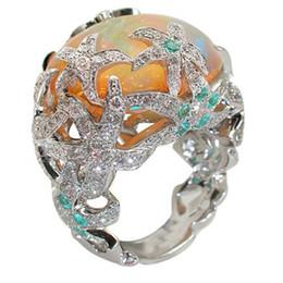 feuer stein kristall Rabatt Natürliche Art-orange Feuer-Opal Stein Helle Silver Star Kristall-Ringe Bague für Frauen-Mädchen-Geburtstags-Geschenk Schmuck Anillos L3X999