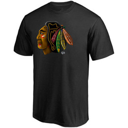 2019 chicago impressão 2019 dos homens de Chicago Blackhawks hóquei t-shirt da marca esporte ao ar livre jérsei branco preto vermelho Fãs Tops Tees camisas Frete grátis impresso Logos chicago impressão barato