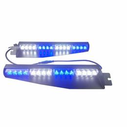 Visor strobe on-line-32 LED 32 W CONDUZIU a Barra de Luz Viseira Luz Brisa de Emergência Hazard Strobe Beacon Dividir Montagem Convés Da Lâmpada Do Traço (azul BrancoBlue