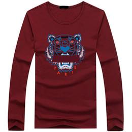 camisa rosa para hombre Rebajas Venta al por mayor Diseñador para hombre Camisetas para hombre Ropa de lujo Camisa de moda de París cabeza de tigre Camisa de manga larga con cuello redondo de algodón para hombres