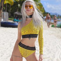 uma peça de trajes de banho sem alças Desconto Mulheres magras sexy bikinis serpentina grão de serpente strapless de um ombro maiôs sexy 2 conjuntos de peças tops e ternos de calcinha praia clothing