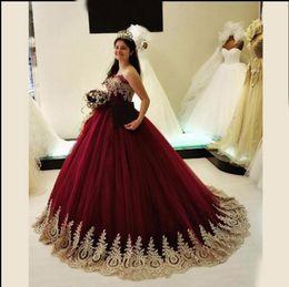vestidos de quinceañera baratos Desconto 2019 Barato Borgonha Longo Prom Vestidos de Ouro Apliques Querida Pescoço Formal Vestidos de Noite Corpete Lace Up Voltar Quinceanera Vestidos de Baile Personalizado