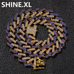 gold necklaces diamonds Coupons - 15mm Multicolor Miami Cuban Chain Necklace Exaggerated Personality Imitation Gold Diamonds Mens Hip Hop Jewelry Gift