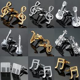 notas de música grátis Desconto Frete Grátis 19 Designs Guitar Cufflinks Música Design Musical Nota CuffLinks Baixo Piano