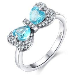 Moda farfalla zaffiro online-Anello a forma di cuore con zaffiro, anello in argento sterling 925, pietra preziosa naturale, zircone pieno di gioielli, fascia nuziale, anello da cocktail