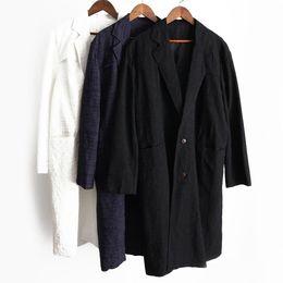 Tamanho do peito chinês on-line-Algodão De Linho Longo Blazers Homens Plus Size Trench Coat Solto Manga Longa Blusão Único Breasted Chinês chiqueiro jaqueta chaqueta