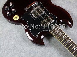 Sg jovem guitarra angus on-line-Custom Shop Angus Young Assinatura Vinho Tinto SG guitarra elétrica Rosewood Fingerboard Lightning Bolt Inlays, Grover sintonizadores, Chrome Hardware