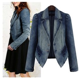 tamaño de las niñas jeans largos Rebajas 2019 Spring Women Denim Jacket Blue Abrigos básicos Casual Slim manga larga Plus Size Fashion Short Jeans Jacket para niña Y190830