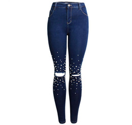 7e47394f49a7 S 3Xl Womens Skinny High Waist Pearl Denim Pencil Pants Ripped Stretch  Female Full Length Jeans Hole Large Size Denim Pant K1005
