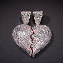 Coppie rotte del cuore pendente online-Hip Hop Argento placcato cuore ghiacciato Bubble Heart Broken Necklace pendente Micro pavimentato Zircone coppia gioielli
