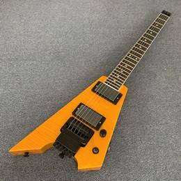 Guitare électrique de style nouveau sans tête avec pont Tremolo, guitare de voyage en érable jaune, matériel noir 190507 ? partir de fabricateur