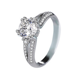 Luxo das mulheres CZ Grande Grão Anel de Diamante 14 K Ouro Branco High-end Anel de Prata Esterlina 925 anel de Noiva de