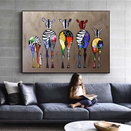 Wholesale Zèbre Abstrait Toile Art Peintures Sur Le Mur Animaux Colorés Art Prints Art Africain Animaux Photos Pour Salon Mur