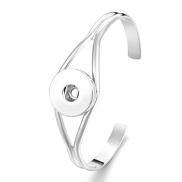 Polsino in metallo dorato online-Noosa Snap Jewelry Metal Button Designer Bracelets Gold Silver Cuff Bracelet Bangles fit 18mm Snap Buttons Jewelry Promotion