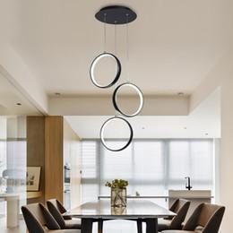 Mesa de jantar redonda moderna on-line-LED Modern Restaurant Pendant luzes para mesa de jantar sala de estar quarto retângulo luminária redonda AC110 / 220V Nova