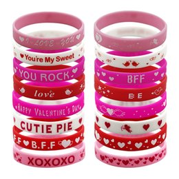 Rote rose gedruckte muster online-Valentinstag Armbänder 200mmx12mm 8 Stile rosa rot rose rot Buchstaben liebevolles Herz Muster Silikon Armbänder niedlich Druck Armbänder