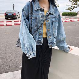 le donne blu chiaro allentano i jeans Sconti Donne New Giacca di jeans Light Blue Bomber brevi jeans rivestimento casuale denim outwear allentato manica lunga Nero Jeans Jack Coat