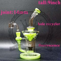 2019 narghilè per olio Corona di vetro Bong materiale americano acqua tubo rig rig riciclatore vetro bong tubo di fumo Dab rig narghilè con Banger viola, colore verde narghilè per olio economici