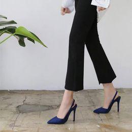 Vestido de zapato de las señoras coreanas online-ZHENZHOU 2018 Elegante Elegante Azul marino / Amarillo Vestido bombas Estilo coreano Shallow Buckle Hollow Ladies High Heels Zapatos de oficina