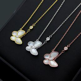 Cadeaux uniques de papillon en Ligne-Papillon blanc coquille unique diamant collier de luxe designer bijoux colliers femmes cadeau amour livraison gratuite