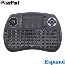 2019 ipazzport мини-клавиатура с беспроводной клавиатурой iPazzPort RGB Backlit Spanish Espanol 2.4GHz Mini Wireless Keyboard Air Mouse with Touchpad for Android TV Box, Mini PC, Laptop дешево ipazzport мини-клавиатура с беспроводной клавиатурой