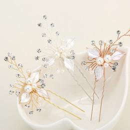 accesorios para el cabello de novia de cuentas Rebajas 3 unids / lote de lujo de la boda pinzas para el cabello floral perla con cuentas palo de pelo flor de cristal pelo nupcial horquillas accesorios JCF001