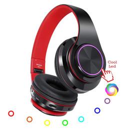2019 fones de ouvido retrácteis 5.0 Fones De Ouvido Bluetooth com Microfone DIODO EMISSOR de Luz de Respiração Dobrável Hi-Fi Profundo Baixo Sem Fio Over Ear Suporte Retrátil TF cartão fones de ouvido retrácteis barato