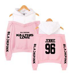 camisolas meninas sexy Desconto 2019 novo BLACKPINK Mulheres Off-ombro Sexy Meninas Hoodies Camisola de algodão Exclusivo preto rosa K-pop Outono Harajuku roupas