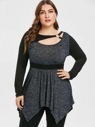 Wipalo Women Plus Size Cutout Contrast Handkerchief T-Shirt O Ring Collar High  Waist Long Sleeve Casual Spring Tunic Tee Top 5XL f44cf4ac231f
