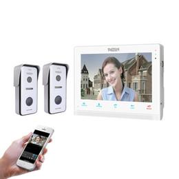 2019 drahtloses türüberwachungssystem TMEZON 10-Zoll-Wireless / Wifi-Smart-IP-Video-Türklingel-Gegensprechanlage, 1xTouch-Bildschirm mit 2x720P verdrahteter Türtelefon-Kamera rabatt drahtloses türüberwachungssystem