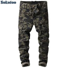 camouflage hosen männer schlank Rabatt Sokotoo Herren Militaty Camouflage Taschen Cargohose Army Patchwork Slim Skinny bedruckte Jeans