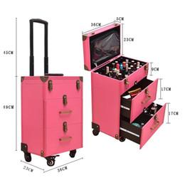 Cosméticos saco prego on-line-Tatuagem de unhas Saco de bagagem de rolamento menina high-end multi-função trole mala Mulheres multi-camada de grande capacidade caixa de cosméticos